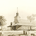 Historic rendering of the first church of Saint Martin de Tours (built on site of current Church)